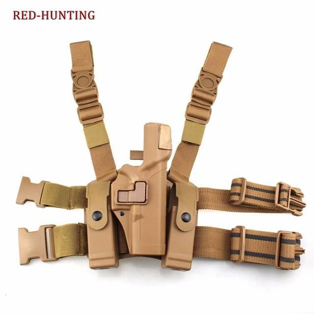 Tactical Leg Holster Level 2 Right Hand Paddle Thigh Leg Pistol Holster for  GLOCK 17 19 22 23 31 32-Matte Finish