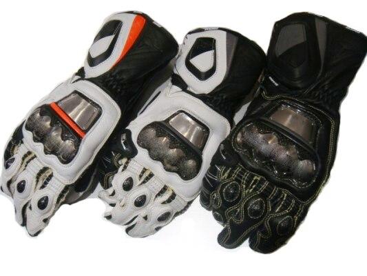 Gants de moto en métal complet Sport peau de vache gants en cuir véritable Orange