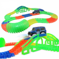110 165 240 360PCs Updated Glowing Race Car Track Toy With Tunnels DIY Flash Twister Track