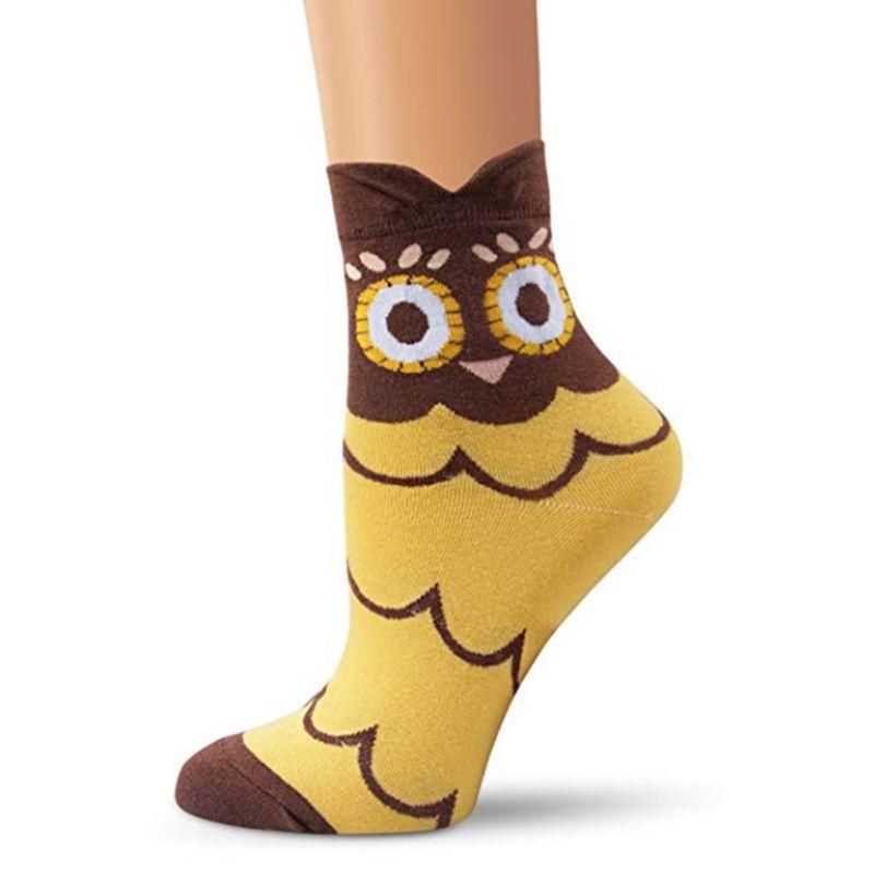 4 Pairs Women Winter Knitted Long Crew Socks Cute Cartoon Little Wild Cat Tigher Skin Printed Irregular Cuff Cotton Sock