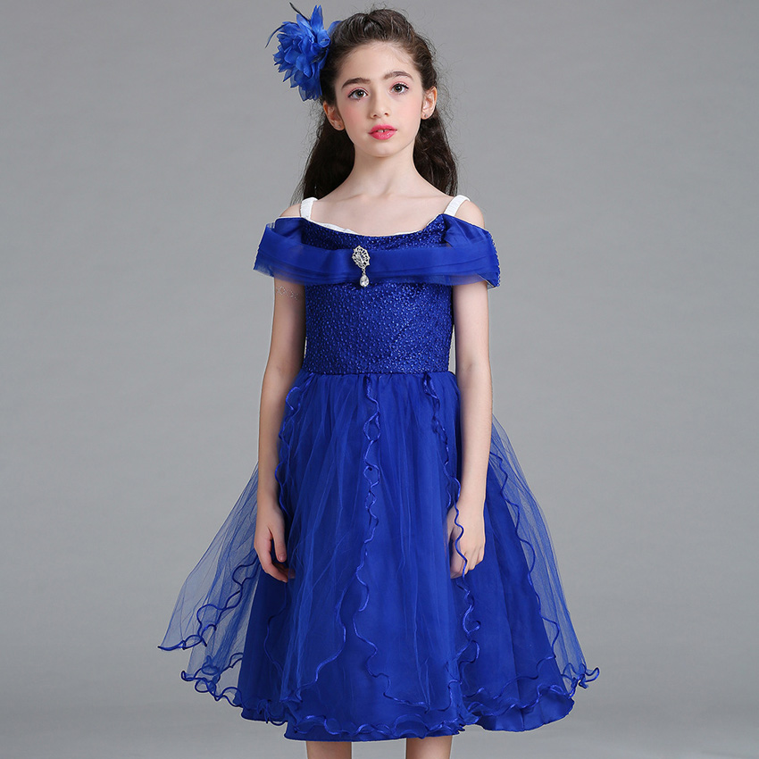 Princess Off Shoulder Top Kids Girls Dresses Snow White Gorgeous Infant Birthday Party and Wedding Fashion Lace Children Clothes