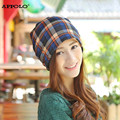 Grid Turban Hats Women Scarves Beanies Braga Cuello Hat Lattice Pile Caps Hedging 3 Use Knit Skullies Girls Cotton Soft Bonnets