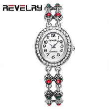 REVELRY 2019 Watch Women Silver Vintage Luxury Clock Women Quartz Watch Ladies Brand Luxury Double Bracelet Women Clock Gifts(China)