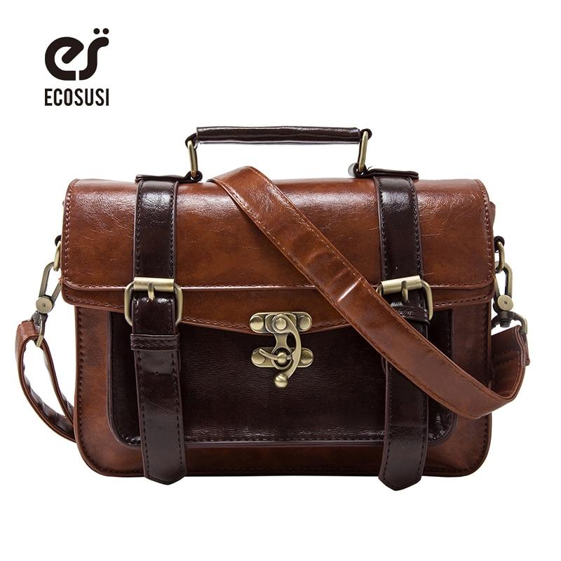 ecosusi 2017 New arrivel women briefcase fashion women crossbody bag retro women handbag functional women messenger bags