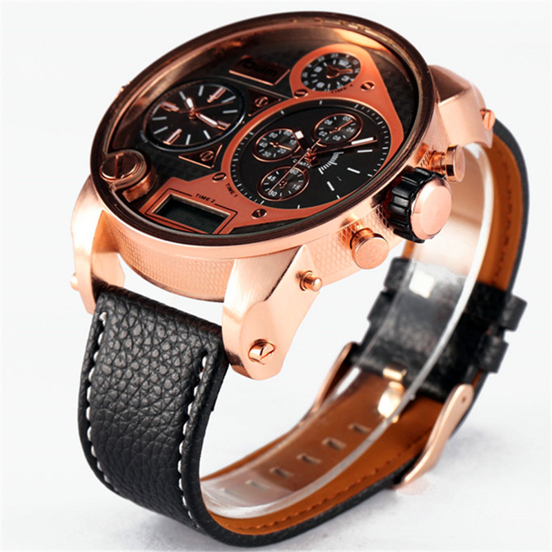 OULM Brand Watches Mens Leather Band Quality Japan Movt Large Quartz Wrist Watch Big Face Analog Clock relogio masculino Brown brand oulm 9316b japan movt big face watches men triple time rose gold luxury analog digital casual watch relogio male original