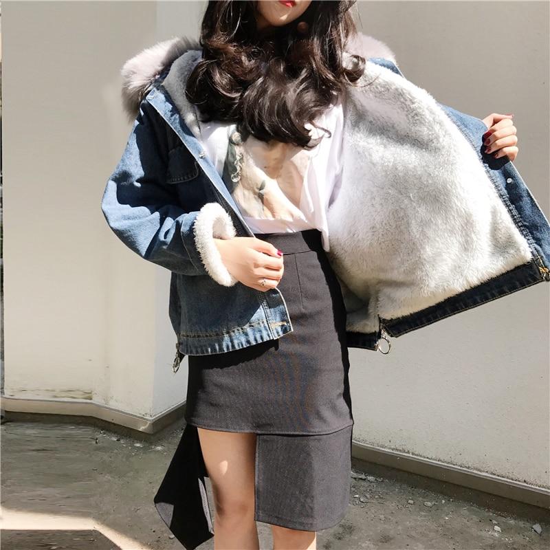Cappotto Gy2018530 Modo Gruiiceen Jeans Blu Pelliccia Sportiva Collo Delle Tuta Street Caldo Inverno High Donne Con Di Giacca YFRYa