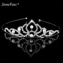 Rhinestone Tiara Headbands Hair-Ornaments-Clips Crowns Brides Wedding Girls for Children