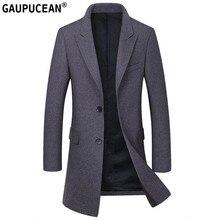 Uomo di Lana Giacca Lunga di Alta Qualità Rosso Nero Grigio Cotone Spesso Imbottito Pulsanti Trench Maschile Tasche del Cappotto Uomini Cappotto Di Lana