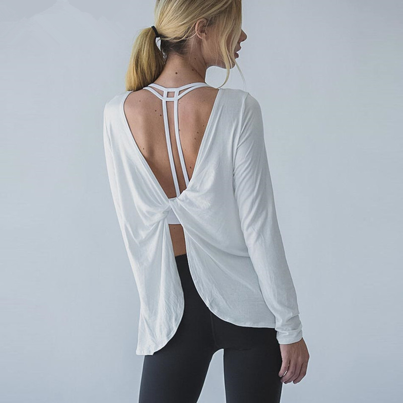Ayopanda open back yoga shirts women sophie long sleeve for Long sleeve open shirt