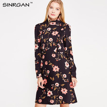 SINRGAN Black flower print ruffle women winter drerss Long Sleeve Slim sexy dress Female Vestidos A-line elegent warm dress lace(China)