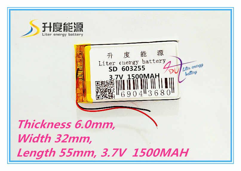 Лучший аккумулятор бренд Бесплатная доставка 3,7 V, 1500 мАч, [603255] PLIB; полимерная литий-ионная/литий-ионный аккумулятор для DVR, gps, mp3, mp4, сотовый телефон