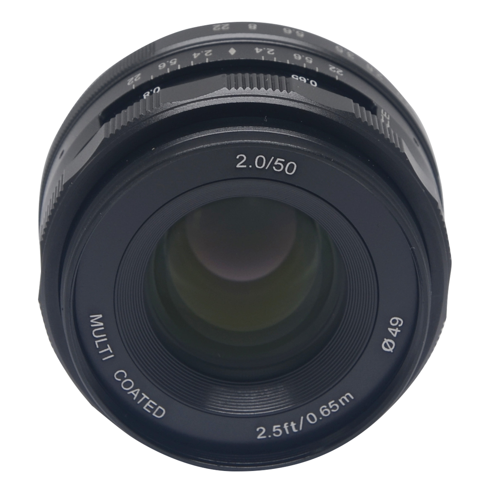 Venidice Meike 50mm f2.0 large Aperture Manual Multi Coated Focus lens APS-C for Fujifilm Mirrorless cameras 50mm f2 0 aperture manual focus lens aps c for eosm nikon1 m43 sony e mount nex3 5t 6 7 a5000 a6000 a6300 fuji xt1 camera