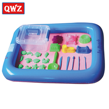 QWZ 26PCS Dynamic Amazing No-mess Indoor Magic Play Sand Children Toy Mars Space Inflatable Tray Accessories Multi-function