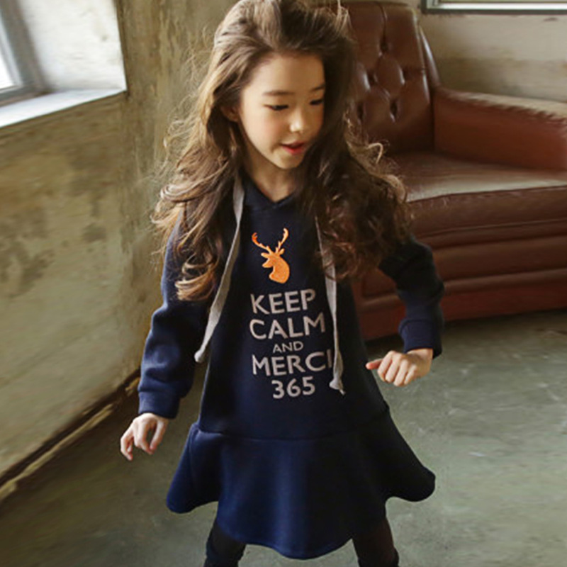 Fall Winter Girl Dresses Long Sleeve Hooded Dress For Teens Casual Cartoon Letter Print Kids Clothes Princess A-line Mini Dress