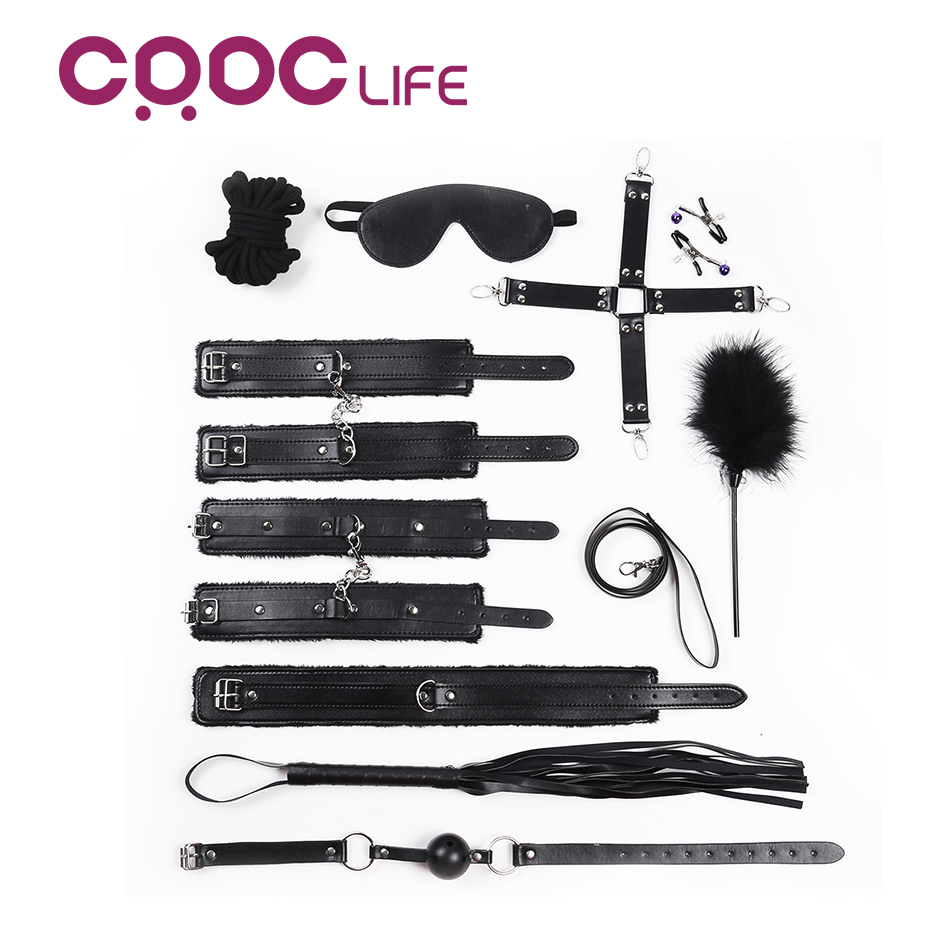 CRDC HOT 10PCS Leather bdsm bondage Set Restraints Adult Games Sex Toys for Couples Woman Slave Game SM Sexy Erotic Toy Handcuff fetish sex furniture harness making love sex position pal bdsm bondage product erotic toy swing adult games sex toys for couples