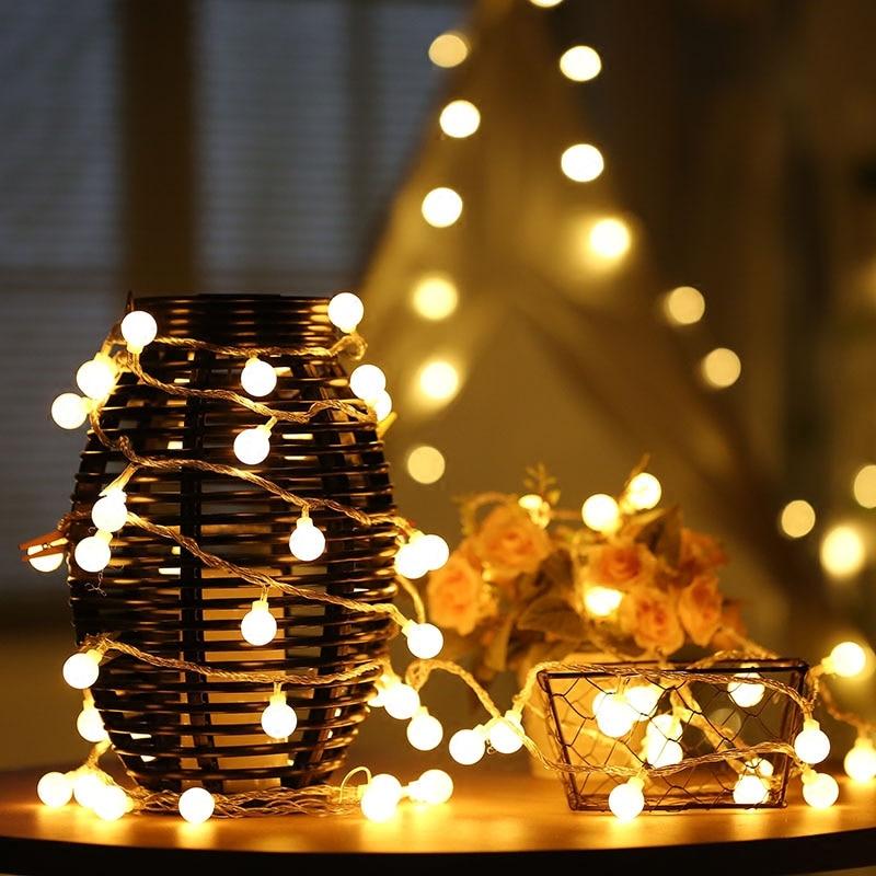 10M 100LEDS EU Plug Christmas Tree Garland String Led Xmas Decoration Outdoor Ball Curtain Fairy Holiday Lights 2 5 10m 10 38led holiday lights 5cm big balls led light string ac plug rgb warm white xmas garland christmas fairy decoration da