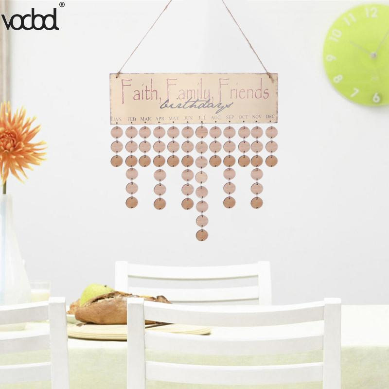 19 Types DIY Wooden Calendar Board Family Friends Birthday Sign Special Dates Planner Record Reminder Tool Hanging Decor Gifts vodool diy wooden birthday calendar family celebrations wall calendar write special dates planner board hanging decor gifts