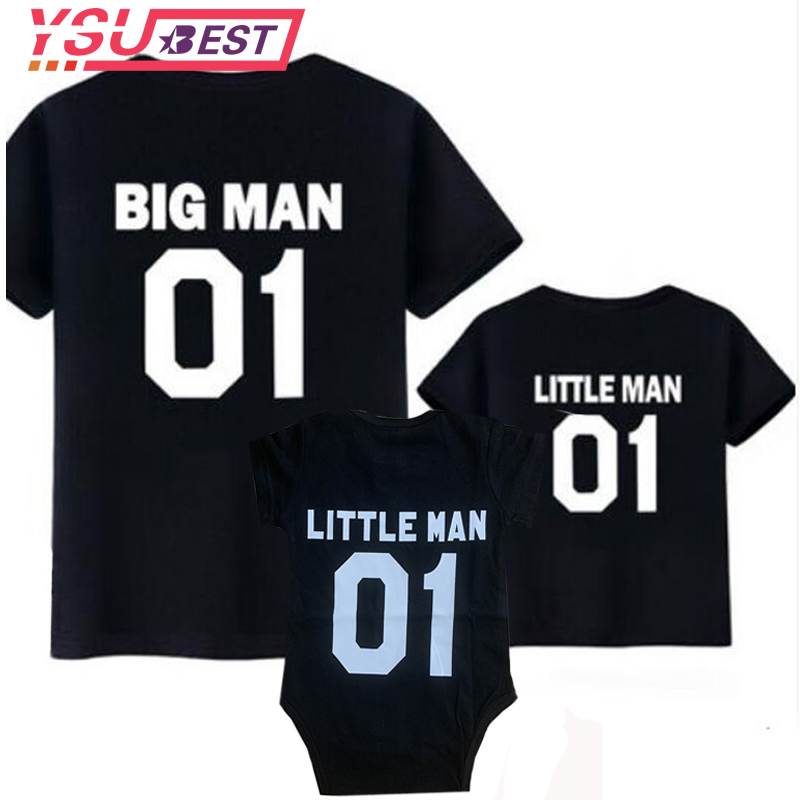 Family Look Matching Outfits Father And Son Big Men Little Man Dad Baby Summer Fathers Clothing T-shirt For Dad And Me Clothes