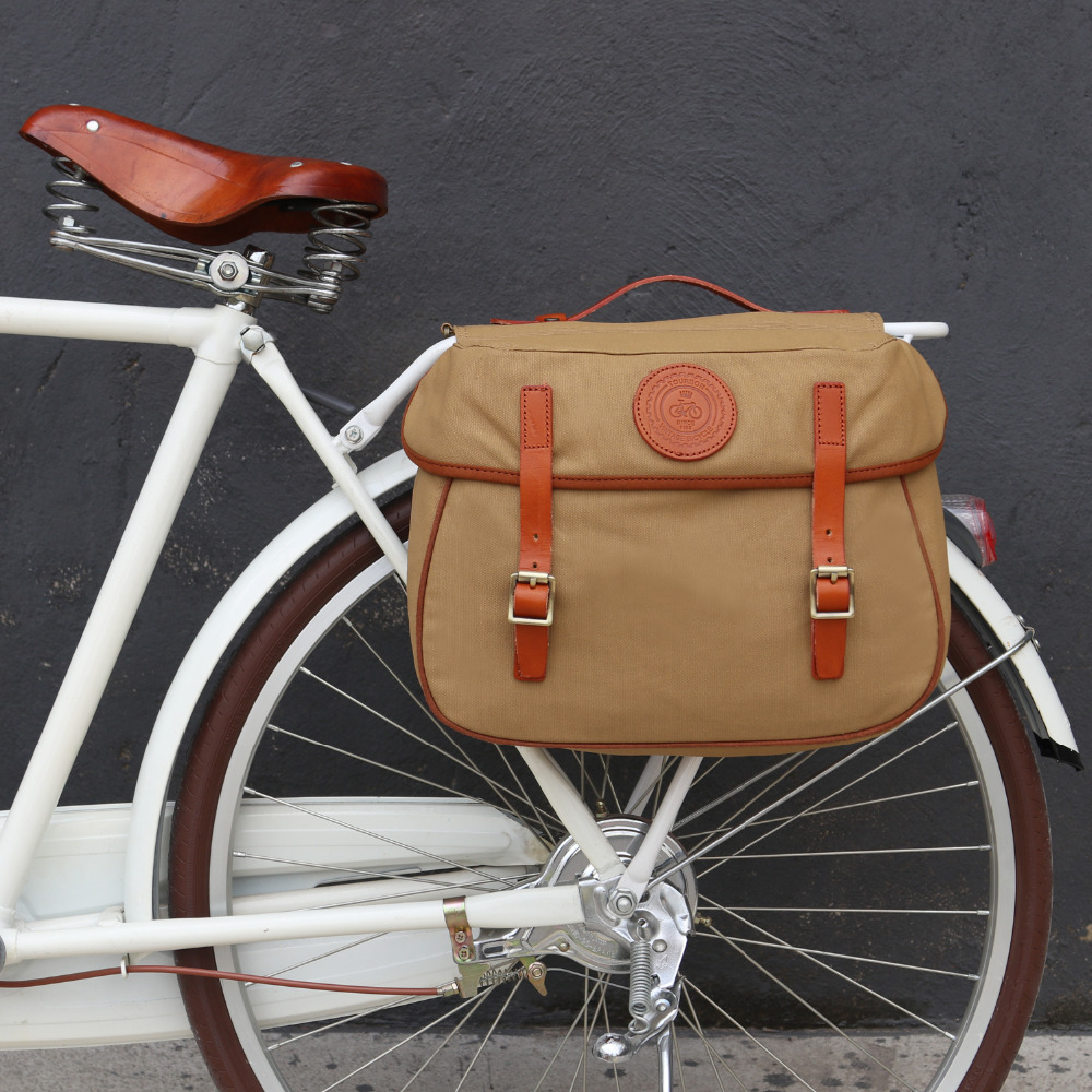 Tourbon Vintage Bicycle Pannier Bag Rear Rack Trunk Bike Backseat Luggage Double Roll-up Bag Retro Waxed Waterproof Canvas Khaki tourbon retro waterproof canvas bicycle back seat pannier cycling rear rack trunk bike luggage two storage bags 23l