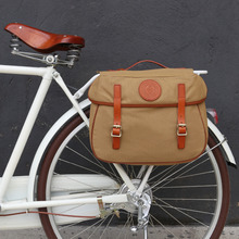 Tourbon Vintage Bicycle Pannier Bag Rear Rack Trunk Bike Backseat Luggage Double Roll-up Retro Waxed Waterproof Canvas Khaki