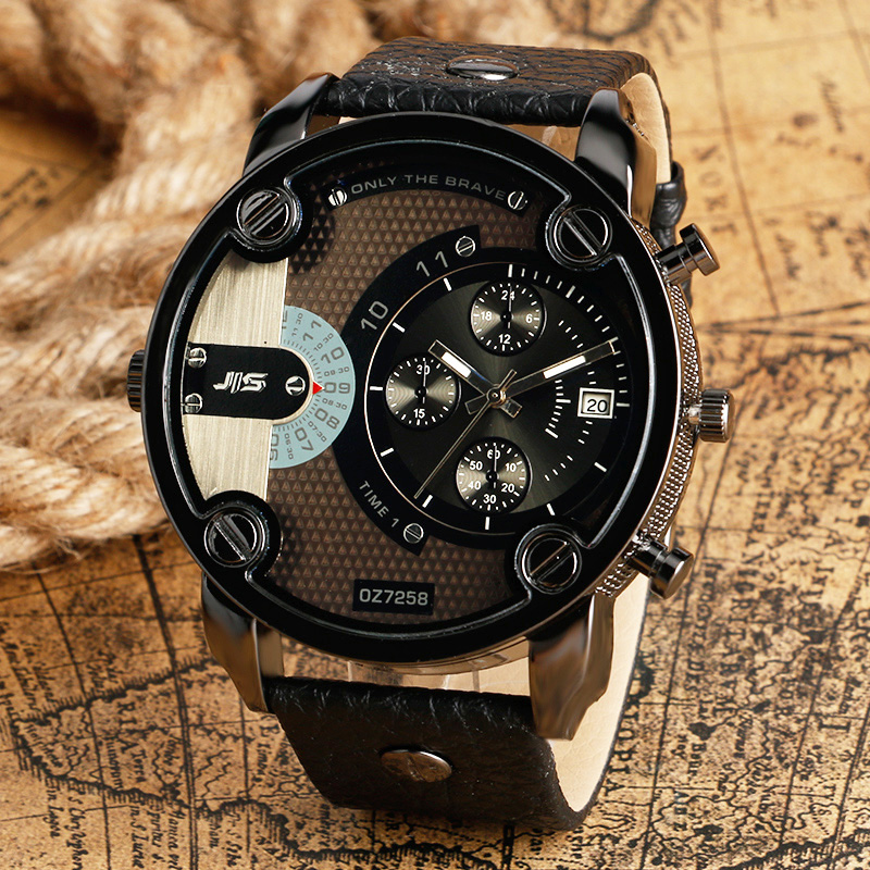 2018 Cool Big Men Watch Date Black/Brown Leather Luxury Man's Quartz Army Wristwatches Military Male Clock Relogios Masculino xiniu retro wood grain leather quartz watch women men dress wristwatches unisex clock retro relogios femininos chriamas gift 01