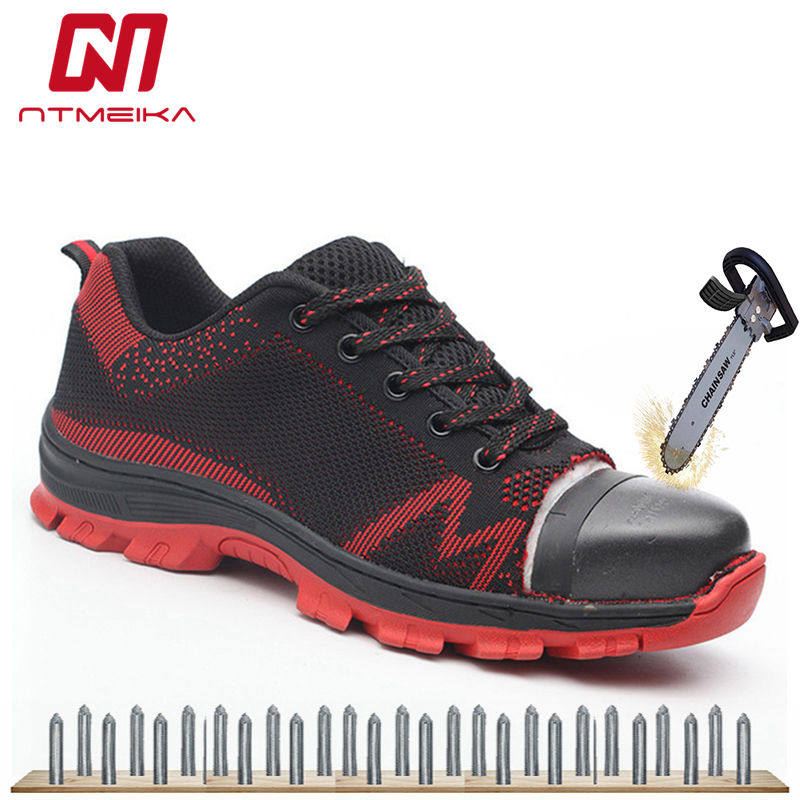 big size 35 48 men work safety shoes steel toe impact resistant soft male shoes outdoor work shoes casual sneakers for men-in Work & Safety Boots from Shoes    1