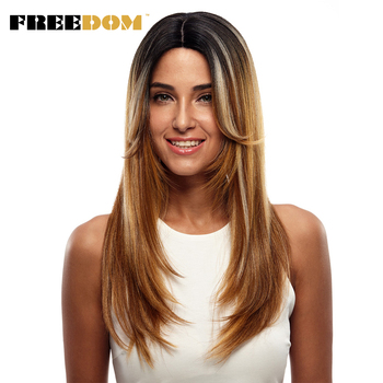 FREEDOM 24 inch Long Straight Two Tone Ombre Lace Front Synthetic Wigs For Black Women Lace Frontal Heat Resistant Fiber