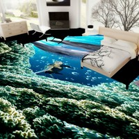 Miễn phí Vận Chuyển HD 3D Stereo Sea World Dolphin tầng sơn phòng ngủ văn phòng nhà sách aquarium non-slip Tầng hình nền bức tranh tường