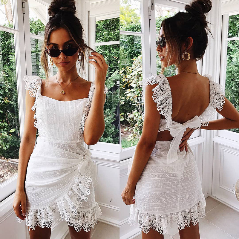 Summer Dress Women Boho Bohemian Hollow Out Crochet Lace Embroidery White Dress Backless Tie Ruffle Mini Beach Dresses Sundress