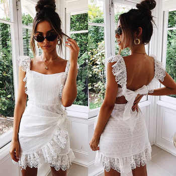 Summer Dress Women Boho Bohemian Hollow Out Crochet Lace Embroidery White Dress Backless Tie Ruffle Mini Beach Dresses Sundress - DISCOUNT ITEM  40% OFF All Category