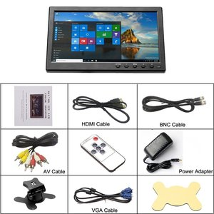 """Image 5 - Podofo 10.1"""" LCD HD Monitor Mini TV & Computer Display Color Screen 2 Channel Video Input Security Monitor With Speaker VGA HDMI"""