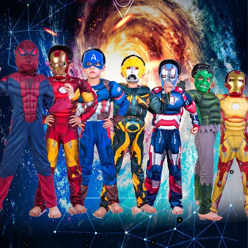 avengers girl costumes cosplay clothes Christmas Boys Muscle Super Hero Captain America Costume SpiderMan Hulk for Kids children