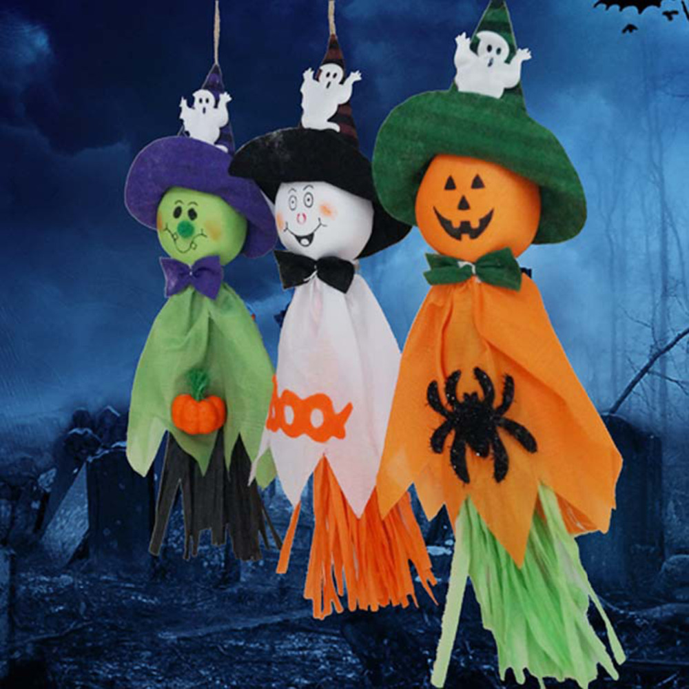 1 pcs hot sale 36x17cm cute ghost hanging hangtag halloween decoration kids funny joking toys festival - Halloween Decoration Sales