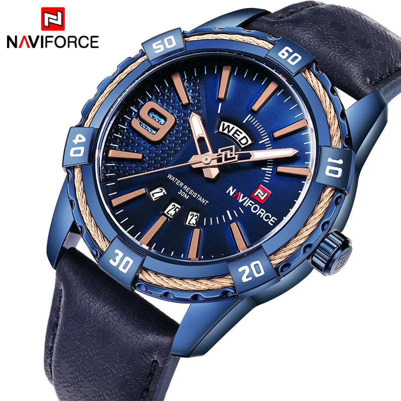 все цены на NAVIFORCE Watches Men Top Luxury Brand Sport Leather Quartz Date Clock Men's Waterproof Military Wrist Watches Relogio Masculino