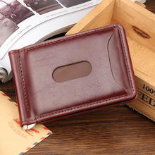 2018 Hot Sale Fashion New Men Money Clips Black Brown PU Leather 2 folded Open Clamp For Money With Zipper Pocket Free Shipping