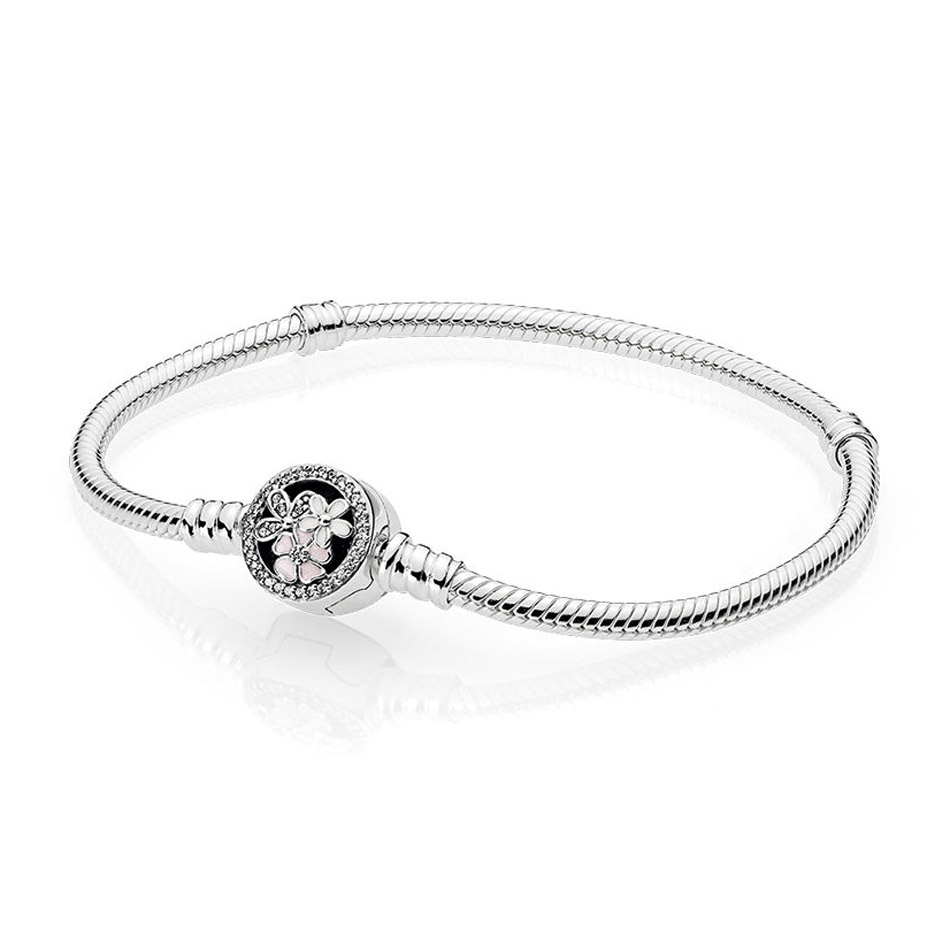Authentic 925 Sterling Silver Bead Charm Poetic Blooms Clasp Snake Chain Beads for Women fit Lady Bracelet Bangle DIY Jewelry