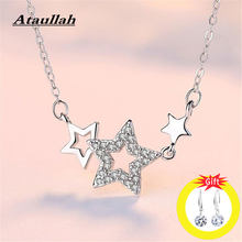 Ataullah Fashion S925 Sterling Silver Shining Pentagram Necklaces&Pendant Inlaid With Crystal Pentacle Star Jewelry NW017NS2(China)