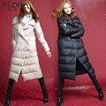 2016 de ganso branco para baixo casaco de médio-longo fêmea magro espessamento roupas ganso luxo