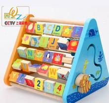 Children's educational enlightenment toys Five-sided wooden alphabet learning toy shelf flap frame pairing computation