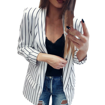 desire 35# New Creative Explosion Fashion Hot Sale Women Ladies Long Sleeve Striped Stylish Duster Blazer Jacket Coat jeans con blazer mujer