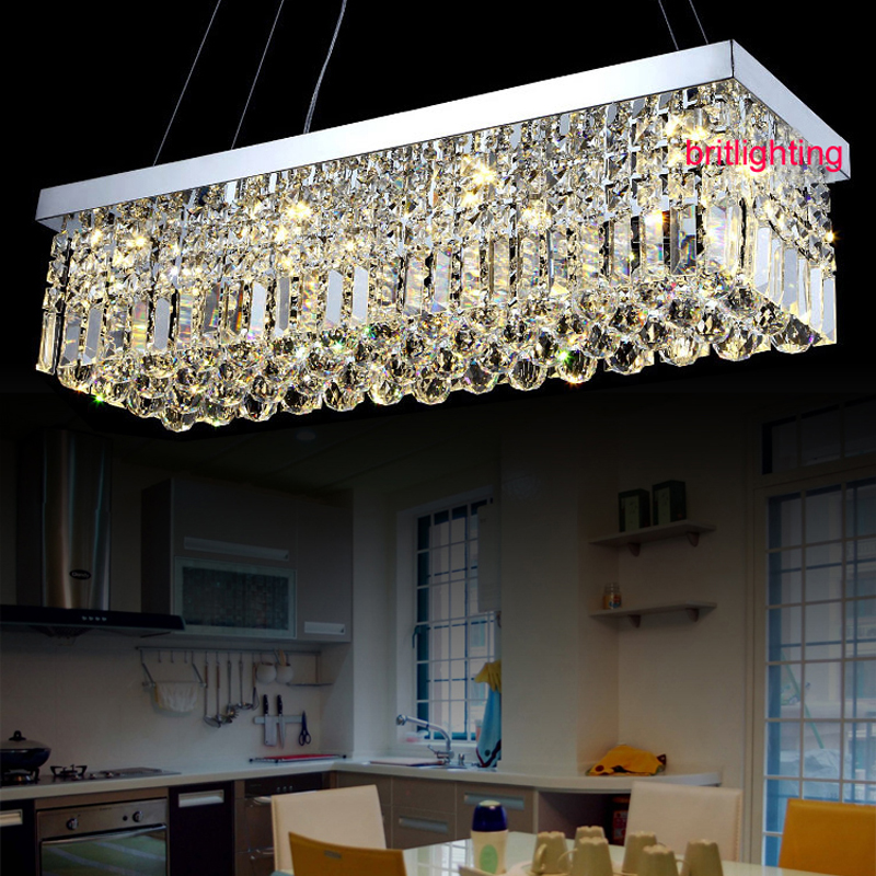 K9 led crystal chandelier rectangle led lamps modern for Modern crystal chandelier for dining room