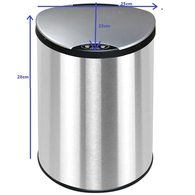 6 Liter No Touch Waste Bin Auto Open Close Trash Can Sensor Dustbin Stainless Steel