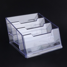 Fashion Three Pockets Clear Desktop Office Counter Acrylic Business Card Holder Stand Display Dispenser Office Tools