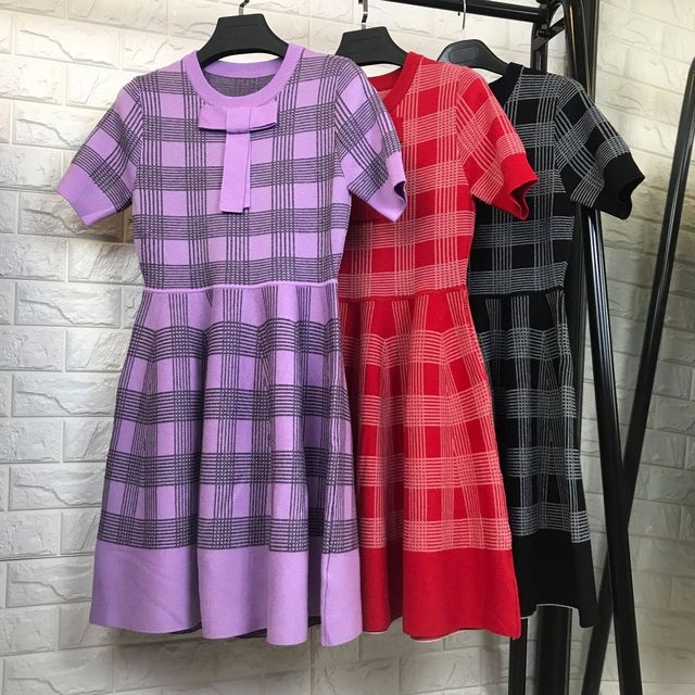 b84271e7e1b Women fashion short sleeve fit flare wool knit sweater dress elegant plaid  bow elegant dresses new 2018 autumn red black purple