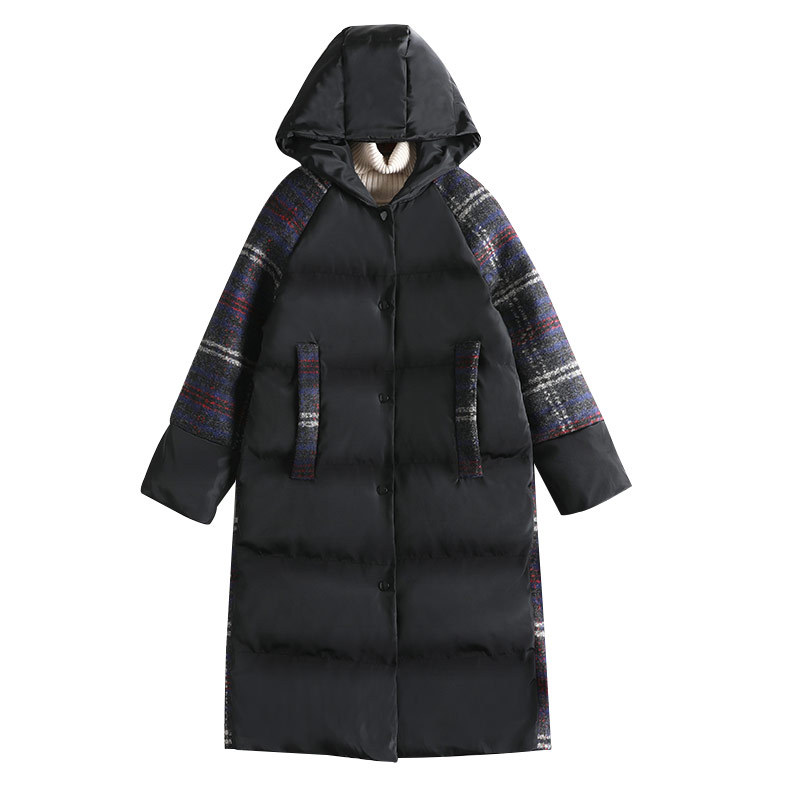 Algodón Outwear Cuadros Grueso Espacio 8567 Mujer Invierno Cálido A Moda Capucha Parka Abrigo De Más Tamaño Con Patchwork rOwaYrq