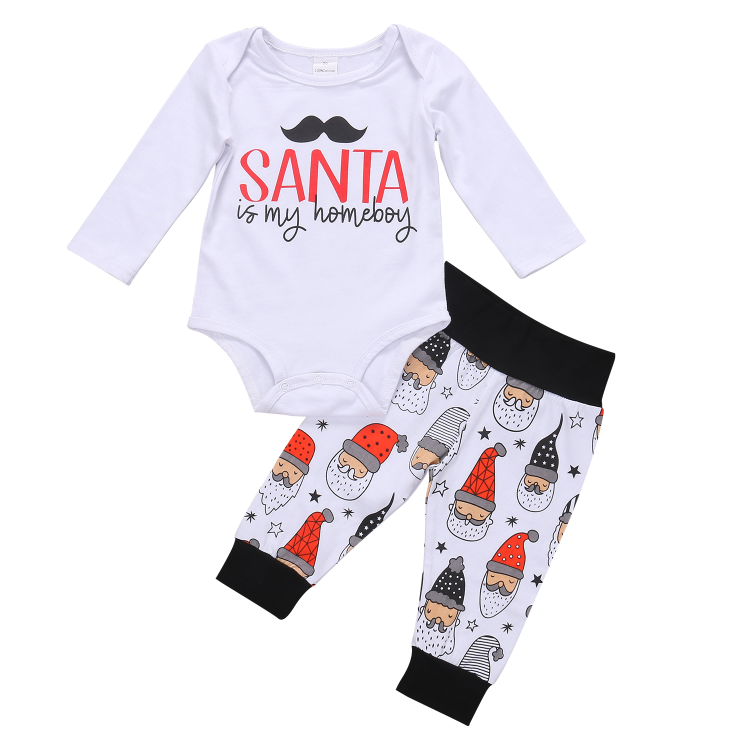 Pudcoco 2Pcs Newborn Baby Boys Clothes Casual Cotton Long Sleeve O-Neck Pants Outfits Set 0-18 Months Helen115