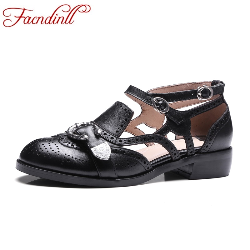 ФОТО new fashion genuine leather gladiator women pumps med heels round toe black rome style shoes woman casual party spring shoes