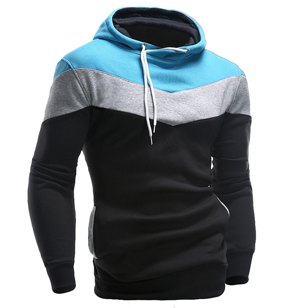 Baru 2016 Mens Hoodies and Sweatshirts Patchwork Hoodies Lelaki Fesyen Lelaki Tracksuits Sweatshirts Hooded Men Coats
