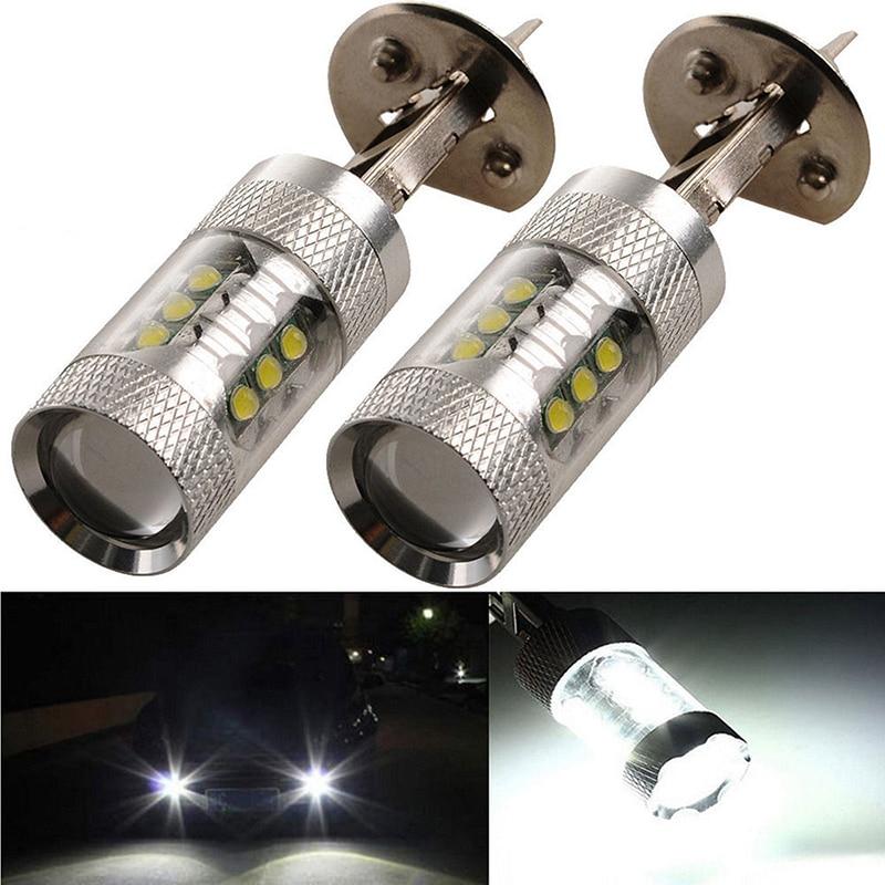 2017 новое Прибытие 2шт/комплект Н1 6000К 16SMD 80 Вт LED туман хвост света DRL автомобиль фары лампы супер яркий Белый