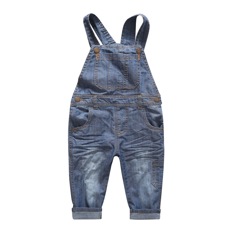 New Arrival Baby Boys Girls Spring&Autumn Solid Denim Jumpsuits Cute Kids Hemming Overalls Children Brand Jeans Pants Infantil